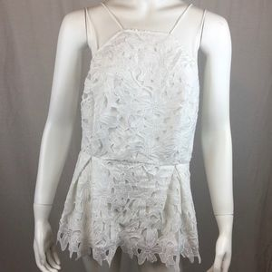 Forever 21 Plus Floral Lace Peplum Top